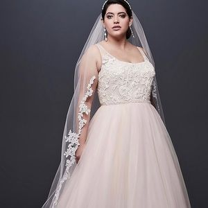 NWT Lace Tulle Plus Size Wedding Dress with Ribbon